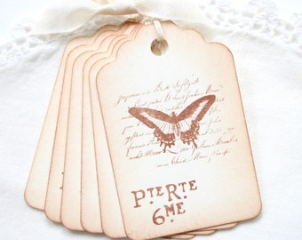Butterfly Gift Tags Vintage French Style Butterfly on Script
