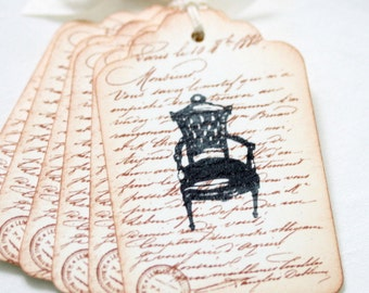 Sepia French Script and Chair Gift Tags, Vintage Shabby Chic Style Gift Embellishment