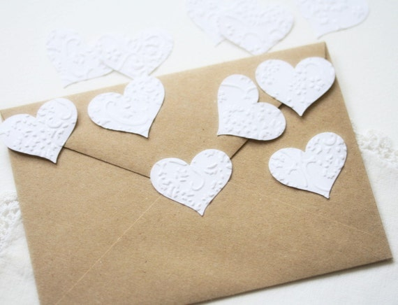 Wedding Stickers Seals Hearts  -  25 Embossed White French Lace Elegant Seals For Envelopes Gift Wrap Favor Bags