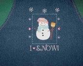 SALE! - SNOWMAN denim apron preschool daycare kindergarten teacher classroom winter season gift idea under 20 ready to ship