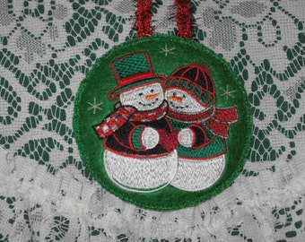 Snowman Christmas ornament green felt embroidered gift idea ornament exchange under 10