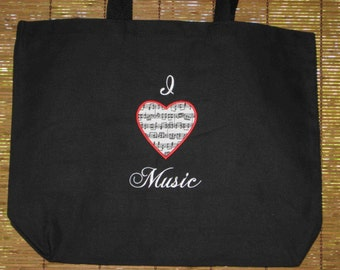 I LOVE MUSIC teacher student large back to school black canvas tote bag gift idea under 20 choir band orchestra ready to ship
