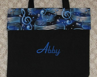 Back in stock!!  Rhythm 'n Blues MUSIC personalized piano lesson book bag treble clef notes musician choir band birthday gift idea