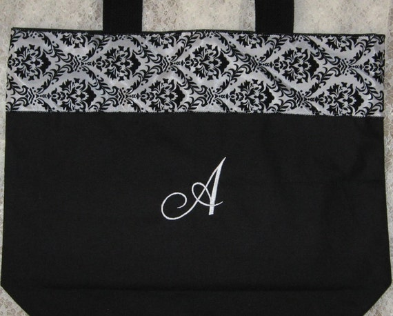 BRIDESMAIDS Personalized Gifts Large black canvas tote bag Damask Wedding Ribbon bridal party Mother of the Bride gift idea