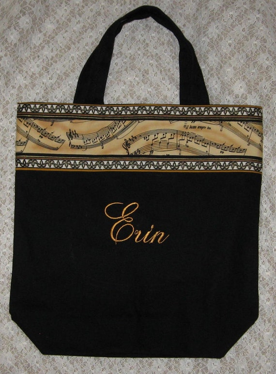 Music Teacher Personalized black canvas tote bag piano symphonic band orchestra choir college student music major recital birthday gift idea