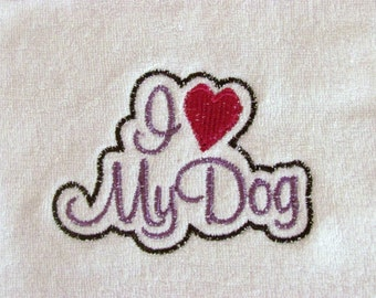 I Heart My Dog Baby Bib in Purple
