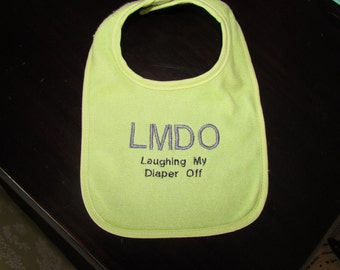 Laughing My Diaper Off Bib - Light Green