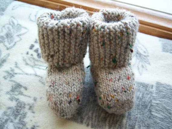 Stivali Maglia Bie Bambini - taupe tweed boots, 3 to 6 months, baby, boy, girl, Italian wool blend yarn, washable, hand knit, crazyadsteam