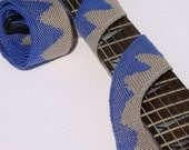 "Guitar Strap 2"" - Handwoven Blue and Gray Rolling Waves"