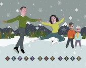 Ice Skating Family Photo New Year Card - Personalized & Printable Digital File