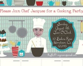 Chef Party Invitation -  Printable and Personalized Size 5x7
