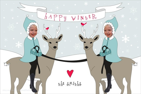 Reindeer Sisters Holiday Card - Personalized and Printable