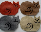 Set of  Four Plastic Canvas Cat Coasters with a holder