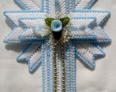 Blue Cross Magnet handmade from plastic canvas