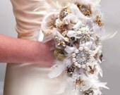 Custom Bridal Bouquet by JeanineDesigns, Alternative Steampunk Wedding Recycled Broach Bouquet Eco Friendly Unique Wedding Mixed Metals