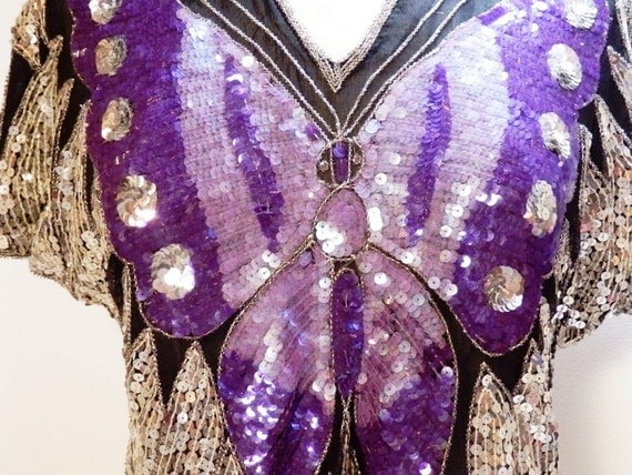 Vintage 80s Sequined Butterfly Top Purple Tagt Team 123 cc  etsy guild tenx tt cccoe sos steam team