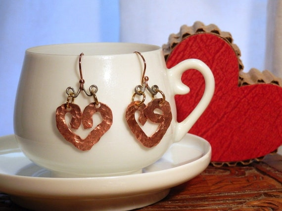 Heart Earrings Eco-Friendly Recycled Copper Steel Tagt Team 123 cc  etsy guild tenx tt cccoe sos steam team