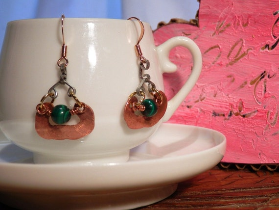 Copper Drop Earrings Green Malachite Eco-Friendly Recycled Tagt 123 cc  etsy guild tenx tt cccoe sos steam team