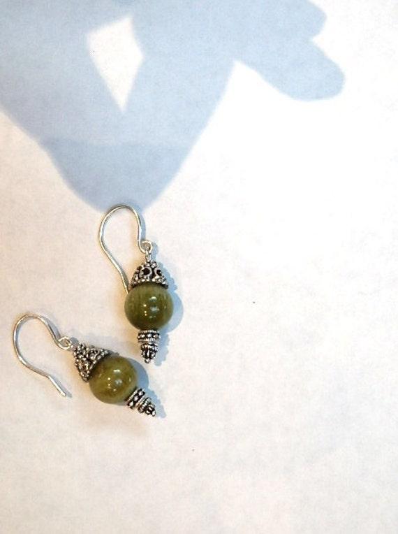 Drop Earrings of Green Gemstone Quartz Ready to Ship tagt cc tt 123 cccoe  steam tenx
