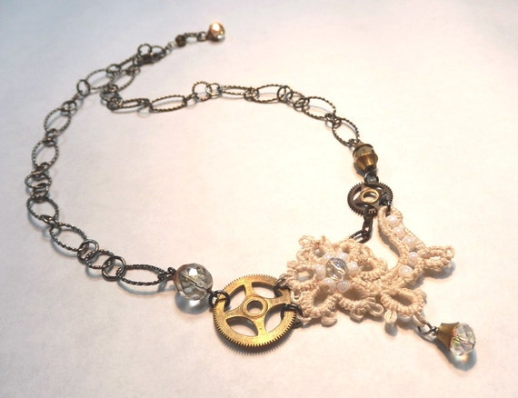 Bridal Necklace Victorian Steampunk Tatted Lace Clock Gears Tagt 123 cc  etsy guild tenx tt cccoe sos steam team