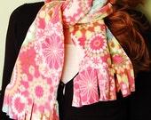 polar fleece winter scarf- SCARF WITH FRINGE- Pink Geo Flower Power