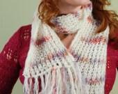 Confetti Stripe and White- hand knit scarf