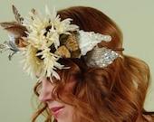 Winter White Blooms- floral garland, bridal, fairy, headpiece, headband, head wreath