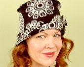 polar fleece winter hat- MARPLE- Black and White Spiro- M