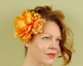 bridal hair comb- Apricot Flame - bridal hair comb, headpiece, fascinator