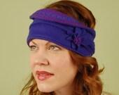 fleece winter head wrap- GRETA- Purple and Royal Blue