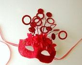 MASK- Crimson Bramble-masquerade mask, Mardi Gras, ballroom, fairy, Venetian, Halloween