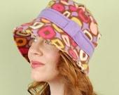 polar fleece winter hat- AUDREY- Funky Lavender Deco- size M/L
