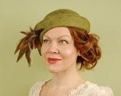 felt hat- EMILY-  felt with pheasant feathers