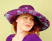 sun hat- REBECCA- Purple Periwinkle - size M/L- cotton