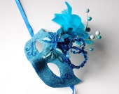 MASK- Azure Brilliance- Mardi Gras, masquerade mask, Venetian,  fairy, Halloween