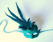 Teal Salvo- fairy, Mardi Gras, Venetian, masquerade mask
