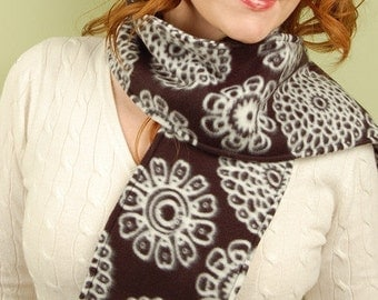 SCARF WITH FRINGE- Black and White Spiro -polar fleece winter scarf