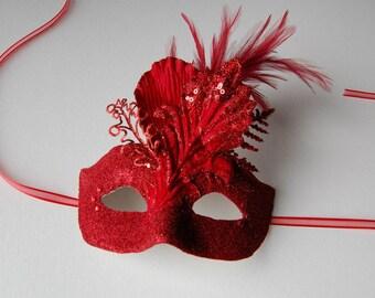 MASK-Cardinal Shimmer - masquerade mask, Mardi Gras,ballroom, fairy, Venetian, Halloween