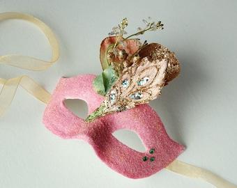 MASK -Salmon Delight- masquerade mask, Mardi Gras,ballroom, fairy, Venetian, Halloween
