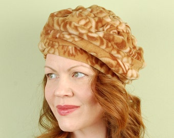 polar fleece winter hat- CUPCAKE SWIRL- Toasted Pinenuts- size M/L