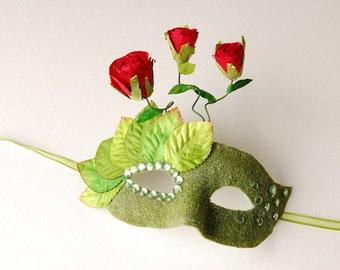 MASK- Rose Garden-masquerade mask, Mardi Gras, Halloween, Fairy, Venetian