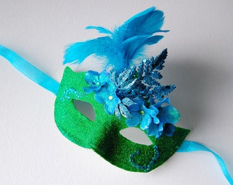 MASK- Frosted Green Apple - masquerade mask, Mardi Gras, ballroom, fairy, Venetian, Halloween
