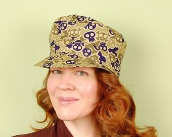cotton chauffeur hat, Men- M Ladies- L - BASCOMB- Camouflage Skull and Crossbones