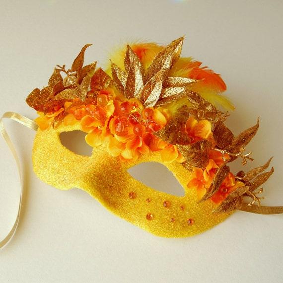Orange Blossom Shinto- Fairy, Mardi Gras, Venetian or masquerade mask