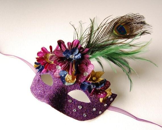 Mask- Plum Peacock Plume- masquerade mask, Mardi Gras, fairy,Venetian, Halloween