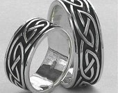 Wedding Band Set Classic Celtic Knot Ring Sterling Silver