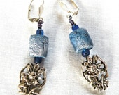blue earrings with pewter angel drop