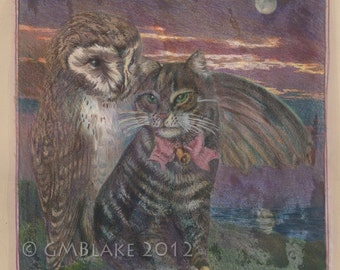 Victoriana - Owl, Pussycat: original hand-altered digital collage