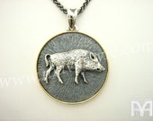 Sterling Silver Gold Boar Pendant Pendentif de Sanglier