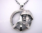 Sterling Silver Peace Army Soldier Pendant Medallion